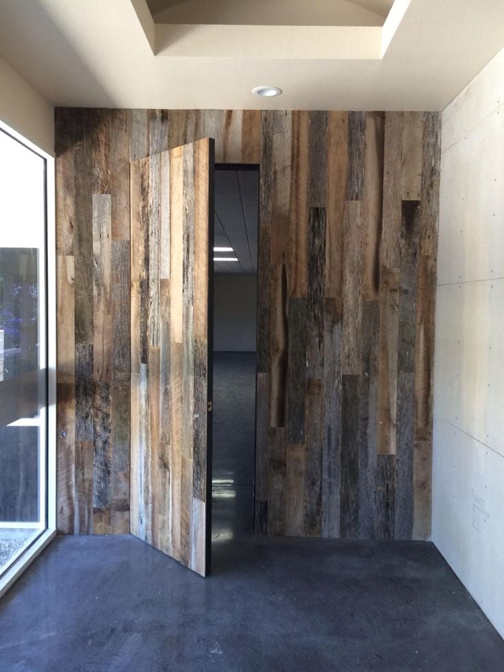 hidden door in wall panel reclaimed wood wall panels with custom door yelp 7028