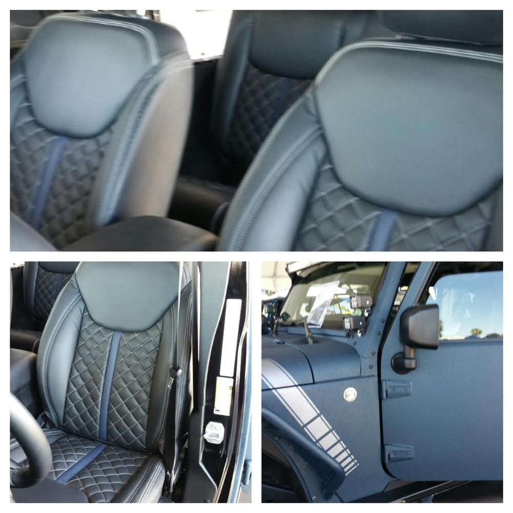 jeep wrangler custom diamond stitching leather interior yelp. Black Bedroom Furniture Sets. Home Design Ideas