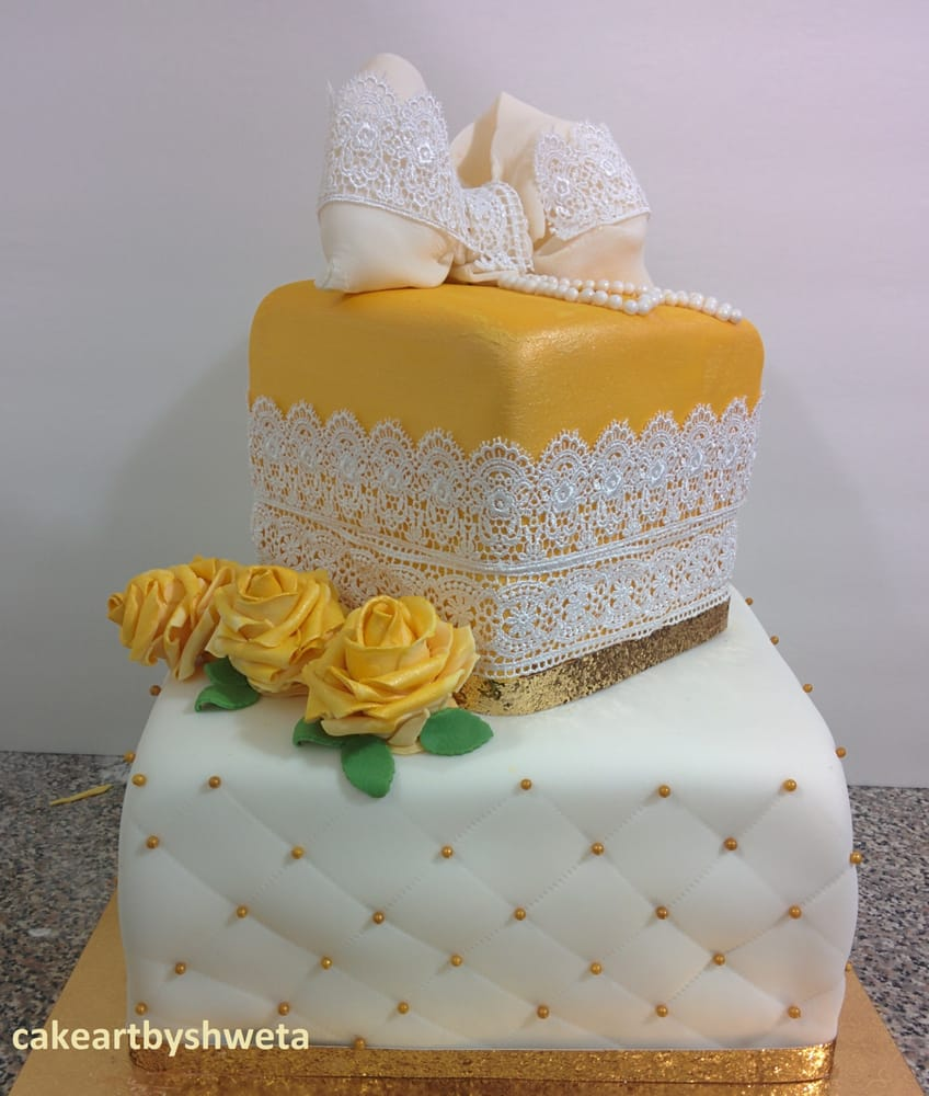 50 And Fabulous Theme Birthday Cake Hand Painted Gold Colored Top