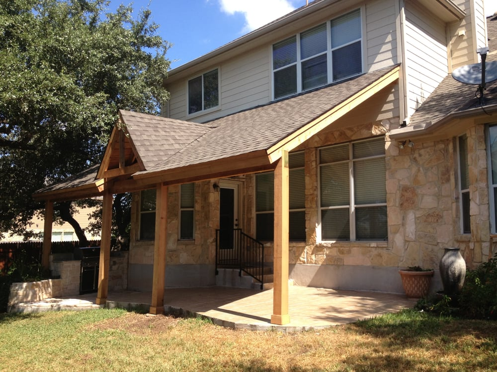 Cedar Patio Cover With A Metal Roof. Stone Columns.   Yelp