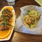 ... Spicy basil chicken taco and peanut chicken taco. Thai spicy dumplings