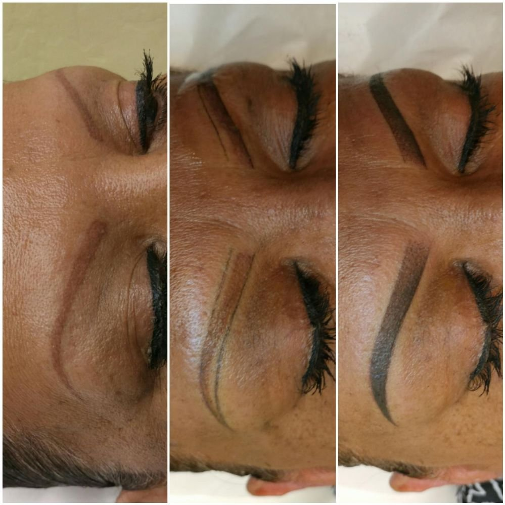 Red eyebrow tattoo pigmentation correction. 1. Before 2. Designed ...
