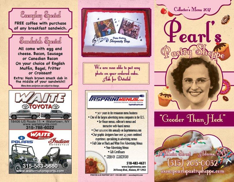 Pearl's Pastry Shoppe: 10 Main St, Adams, NY