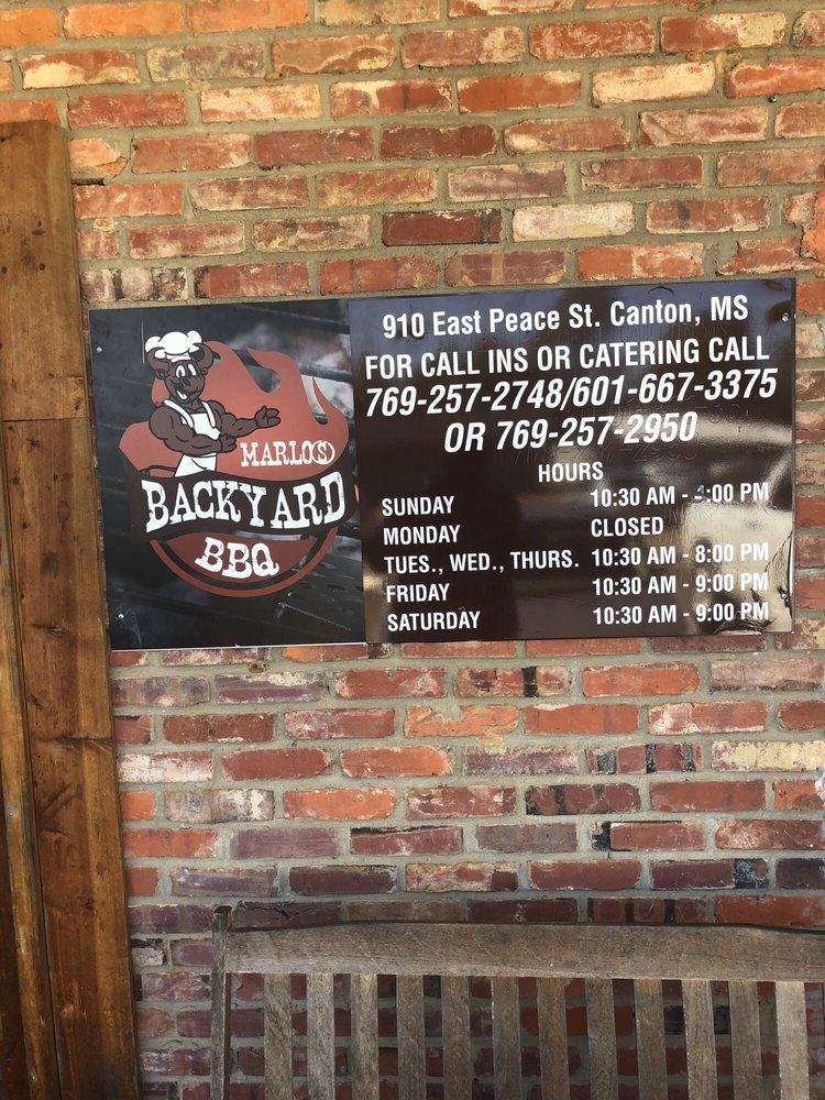 Marlo's Backyard BBQ: 910 E Peace St, Canton, MS