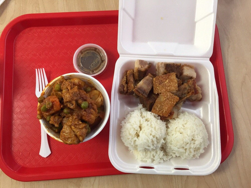 Two Item Combo With Rice Chicken Afritada And Lechon Kawali Yelp