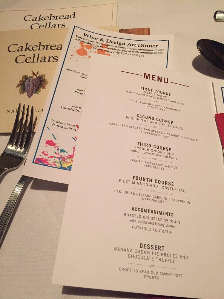 Cakebread& Ruth Chris Wine Pairing Event Menu Yelp