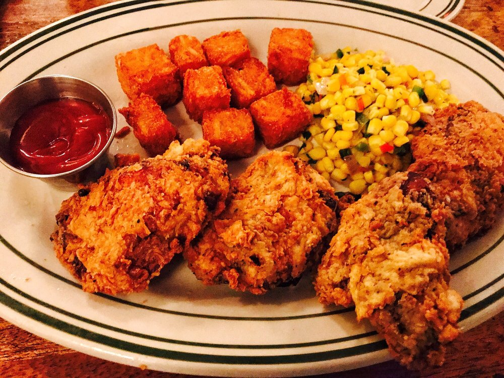 Fried chicken roasted corn tater tots the tater tots for Ted s fish fry