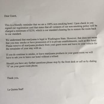 Smoking Complaint Letter