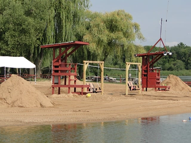 Lifeguard towers and couples swings right on the beach yelp for Fish lake camping