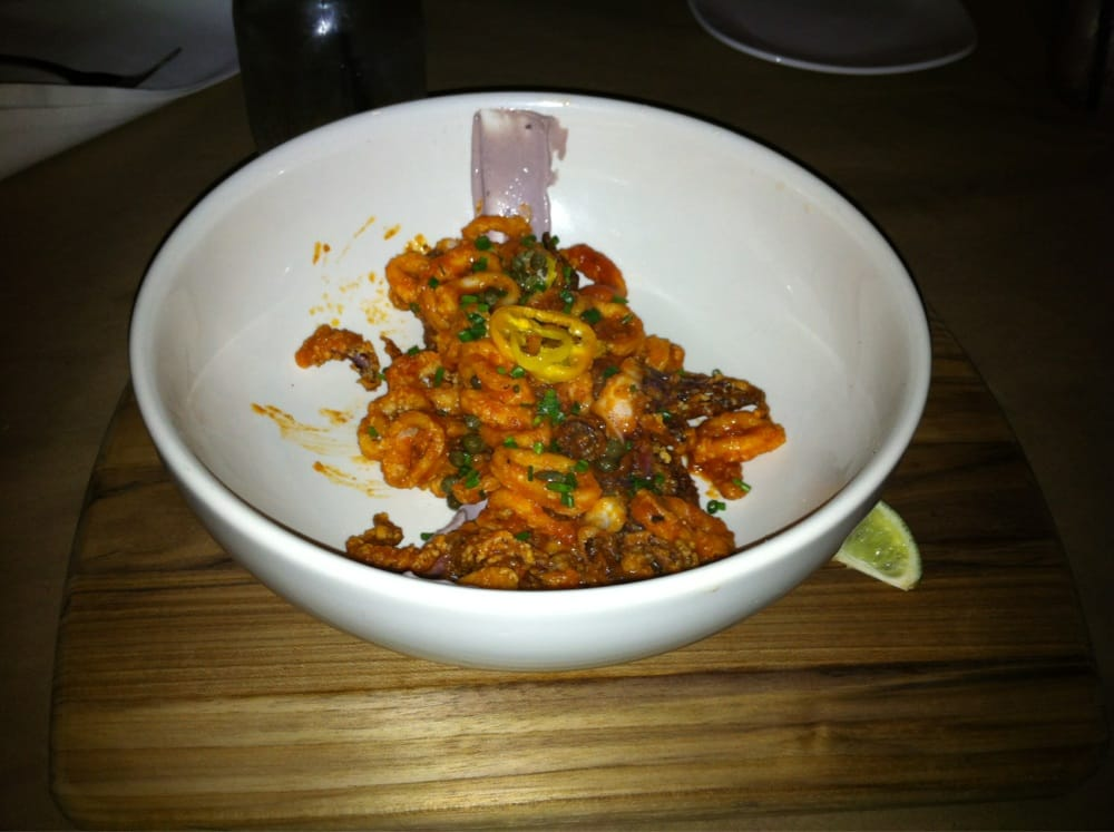 Photo of Mussel and Burger Bar - Louisville, KY, United States. Sweet and sour calamari. Tastes like pizza rolls and calamari, delicious!