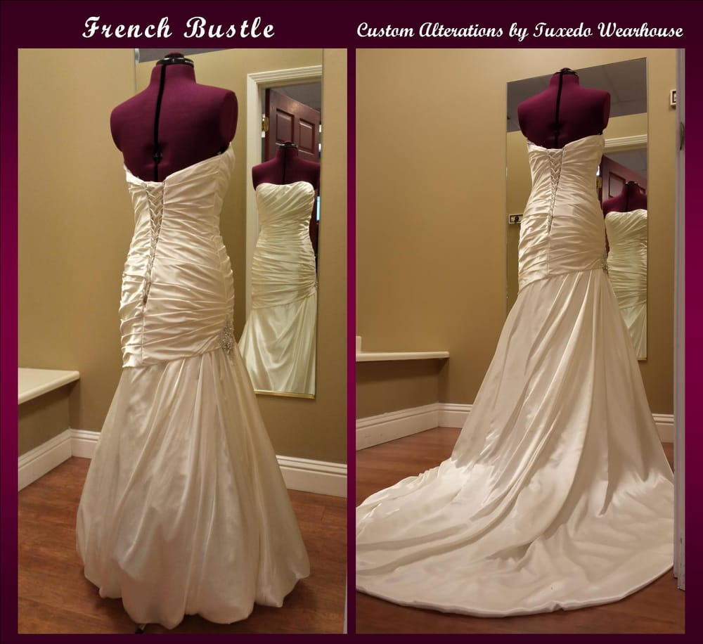 A bustle can be added to any wedding gown to prevent the train from ...