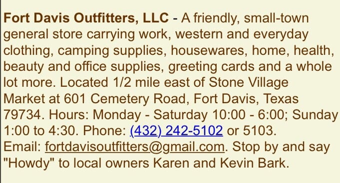 Ft. Davis Outfitters: 601 Cemetery Rd, Fort Davis, TX