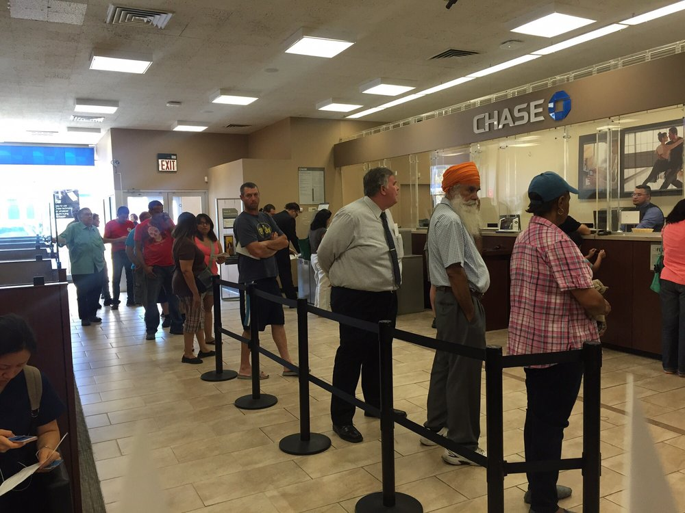 Long Line And There Is Only 2 Teller One Of The Worst