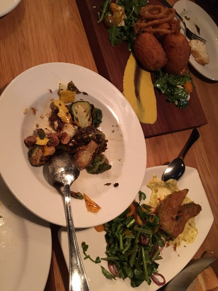 Brussel sprouts beer battered avocado and lamb corn dogs for 12th ave grill open table