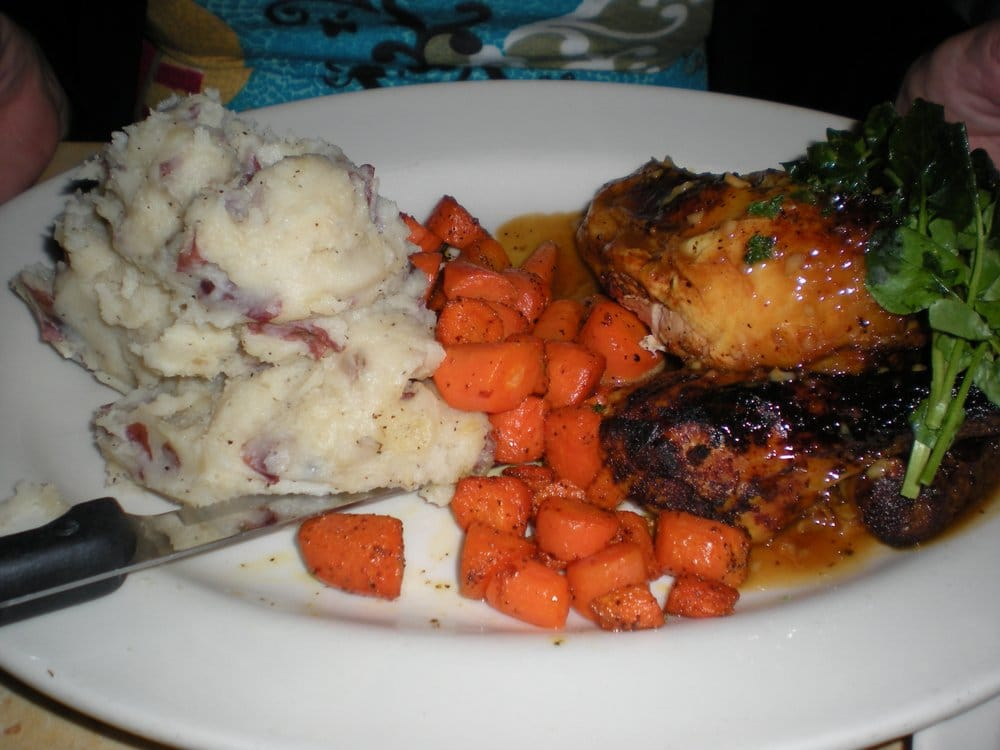 ... Lemon-Herb Roasted Chicken with with Mashed Potatoes, Carrots, and