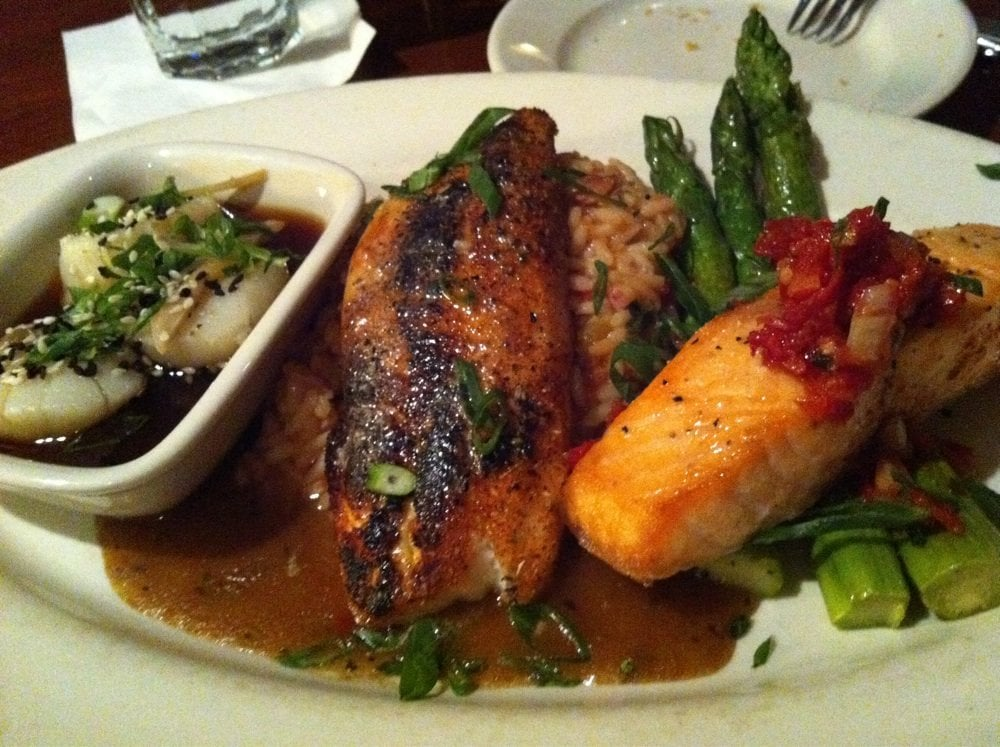 Trio scallops blackened tilapia and grilled salmon yelp for Mitchells fish market newport