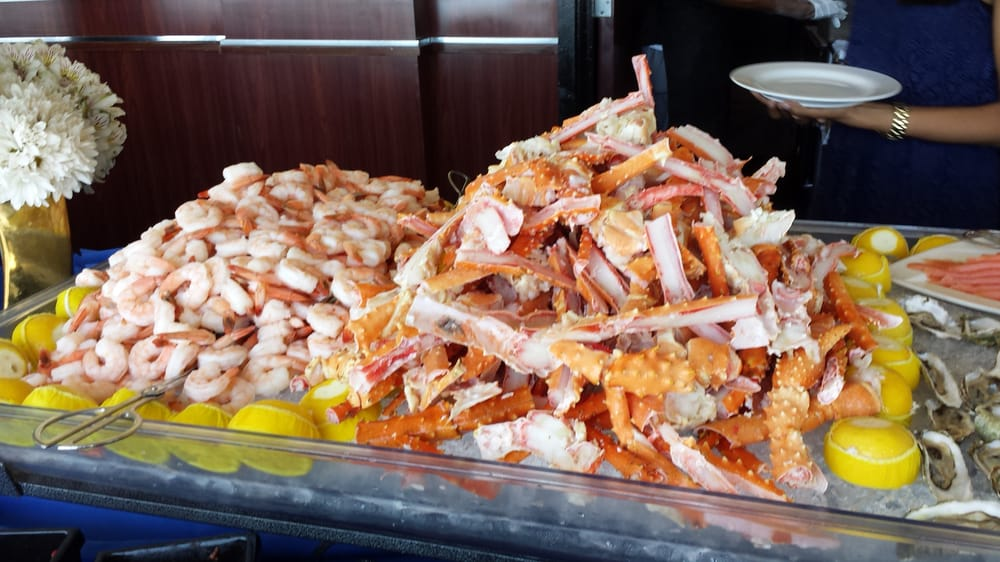 Shrimp And Crab Legs At The Sunday Brunch Appetizer Buffet
