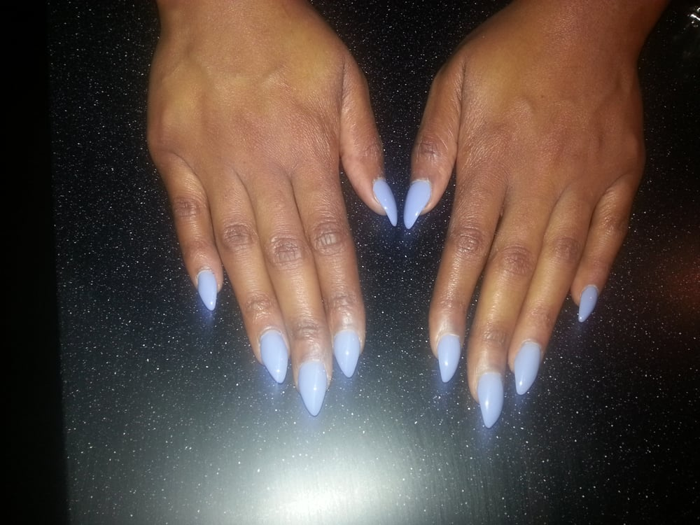 Stiletto nails. Color: hydrangea kiss - Yelp