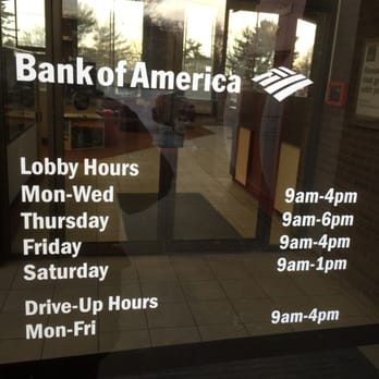 bank of america hours of operation saturdays