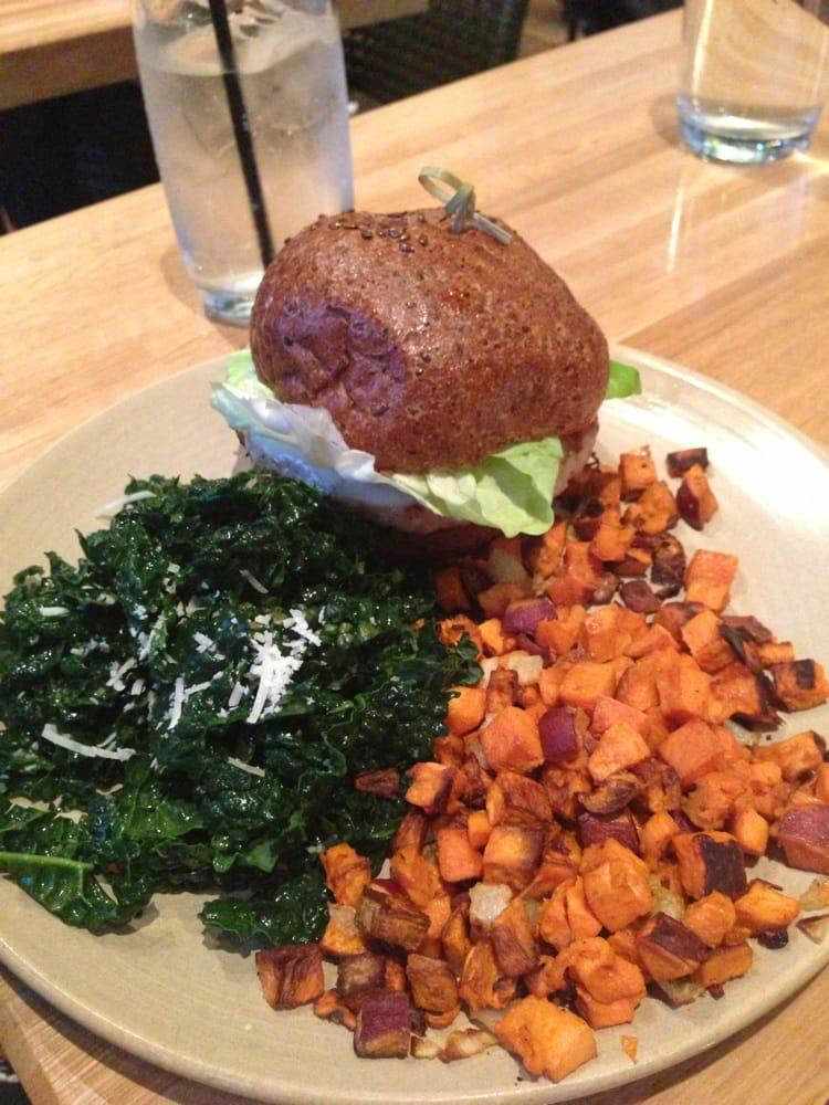 turkey burger w kale salad and sweet potato - Yelp