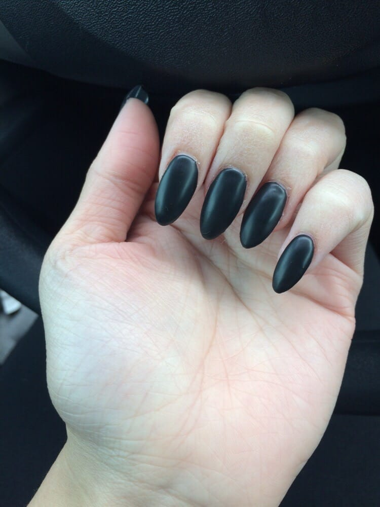 Love my matte black almond nails - Yelp