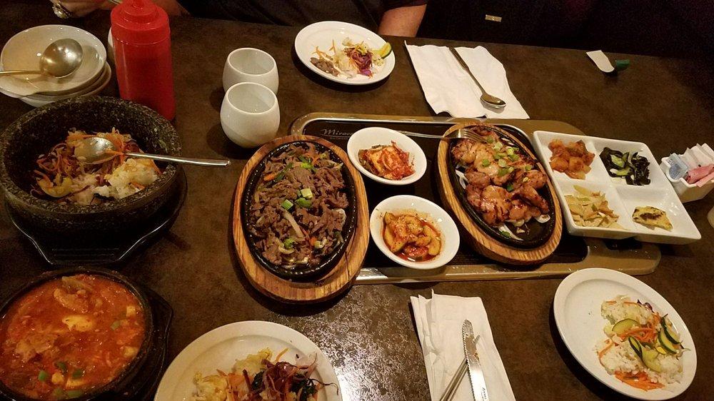 Photo of Korean Manna BBQ Restaurant - Lauderhill, FL, United States. Dolsat bimibop, beef bulgogi, bbq chix thighs, kimchi tofu soup & banchan