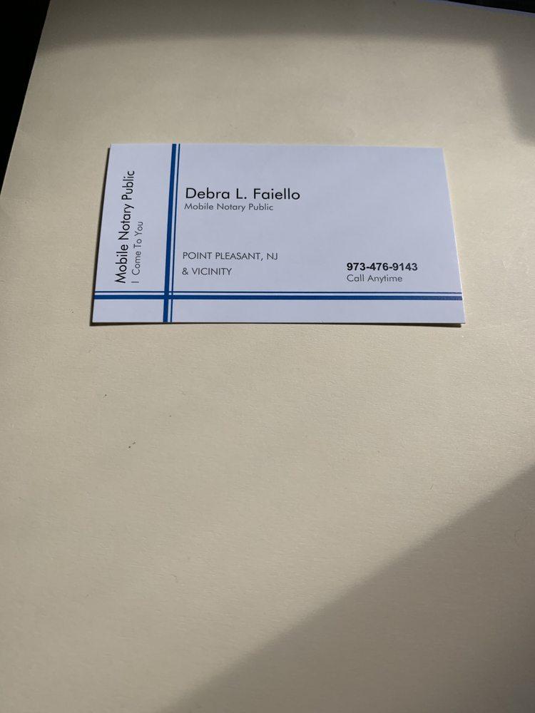 Debbie Faiello Mobile Notary Services: 32 Golden Eye Ln, Port Monmouth, NJ