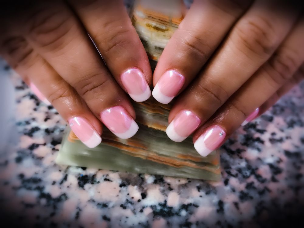 Dipping Powder pink and white with white chrome. LT Nails. - Yelp