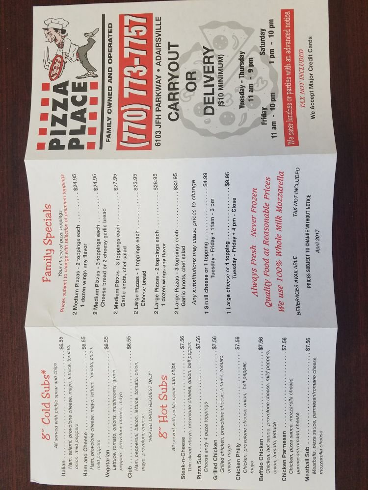 Pizza Place: 6103 Joe Frank Harris Pkwy NW, Adairsville, GA