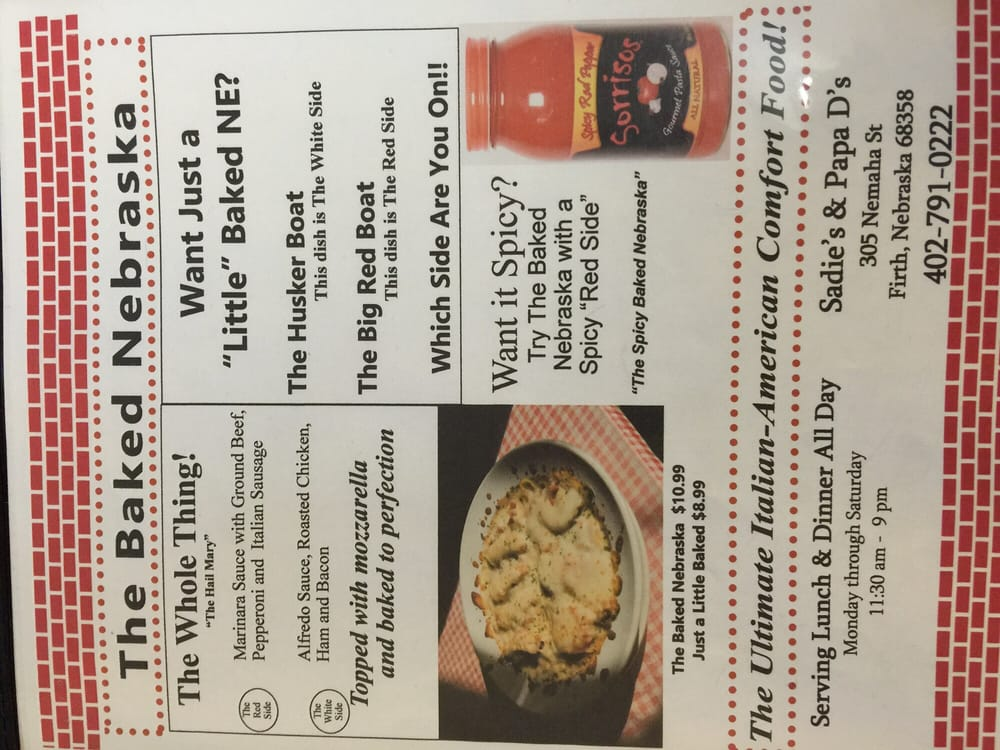 Papa D's Pizzeria: 305 Nemaha, Firth, NE