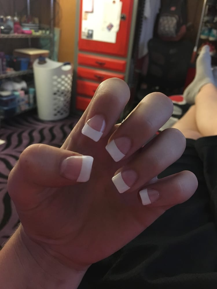 I got French tip acrylic nails with a gel top coat. These are the ...