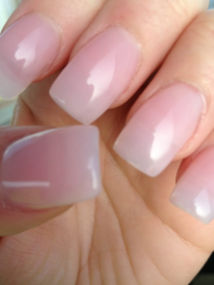 Closer look of natural tips with light pink acrylic ... Natural Pink Nail Polish