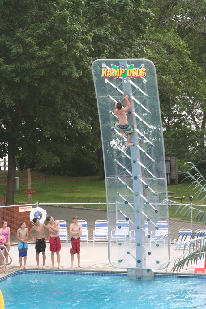 Khaos Kove 39 S 23 Foot Aquaclimb Rock Climbing Wall That Over Hangs The Pool Can You Conquer The