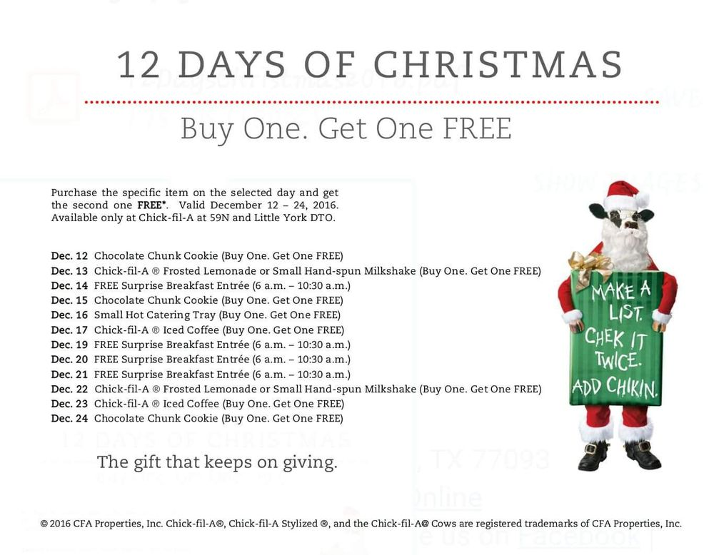 12 days of christmas at cfa ill be there on the 21 23 freebkfast yelp