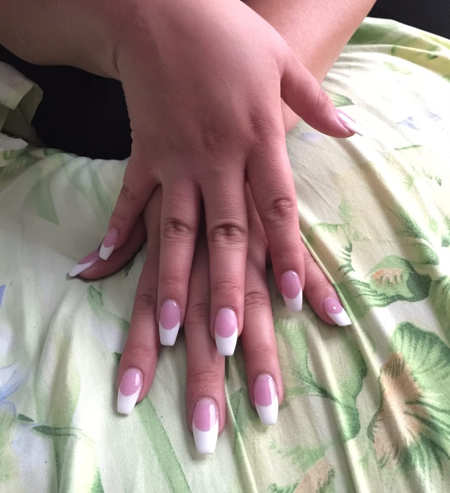 Pink and white coffin full set by vien - Yelp