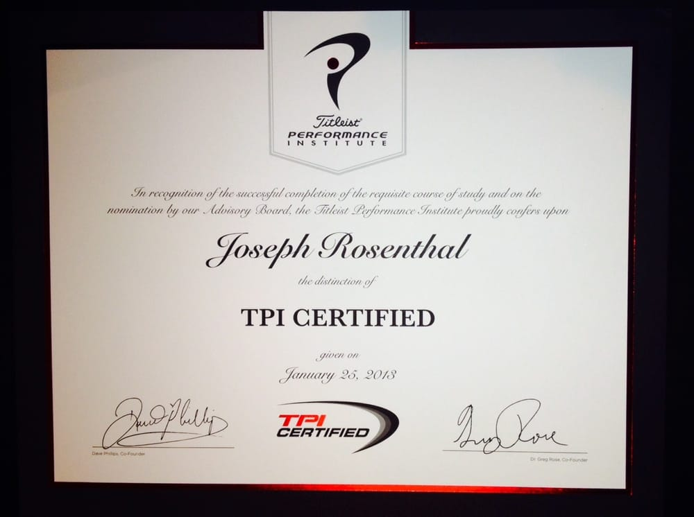 Joseph Rosenthal\'s Titleist Performance Institute certification ...