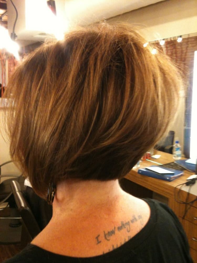 Asymmetrical soft graduated Bob with color and caramel ...