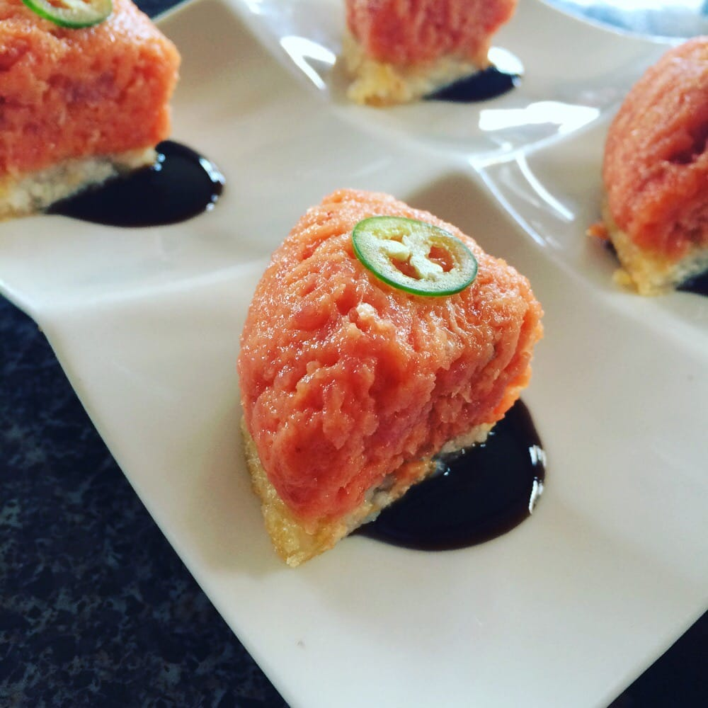 Sashimi grade tuna on crispy rice yelp for Sashimi grade fish