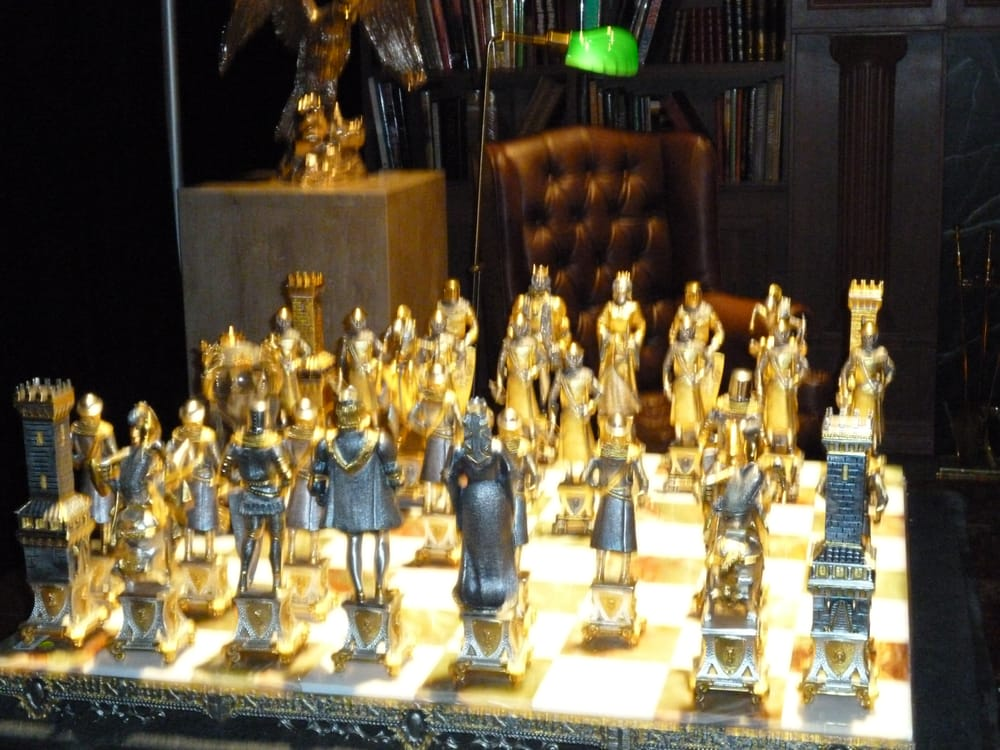 Gold And Silver Chess Set From The Study Library Of