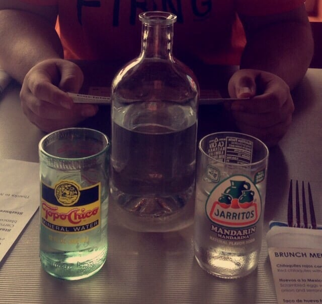Water pitcher and glasses made out of mexican drink glass for Glasses made out of bottles