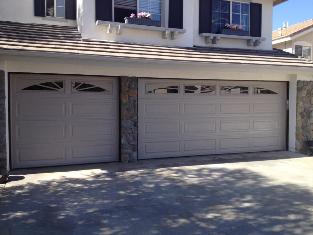 New 3 Car Garage Doors Long Panel Sandstone Color 2 Insulation