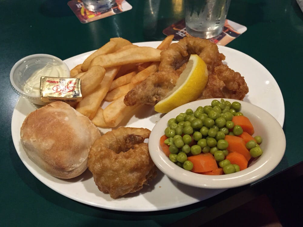 fish and chips with peas and carrots