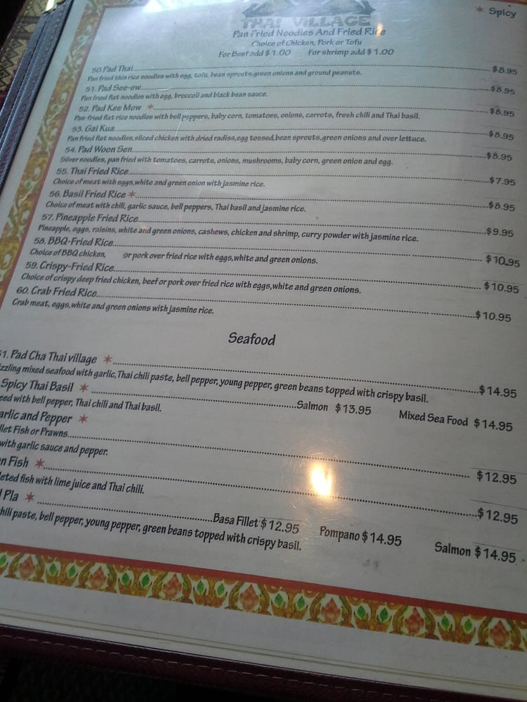 Thai Village Cuisine Menu Union City CA