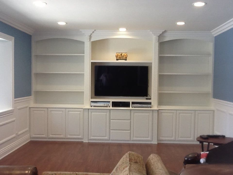 Custom Wall Unit With Moulding Trim