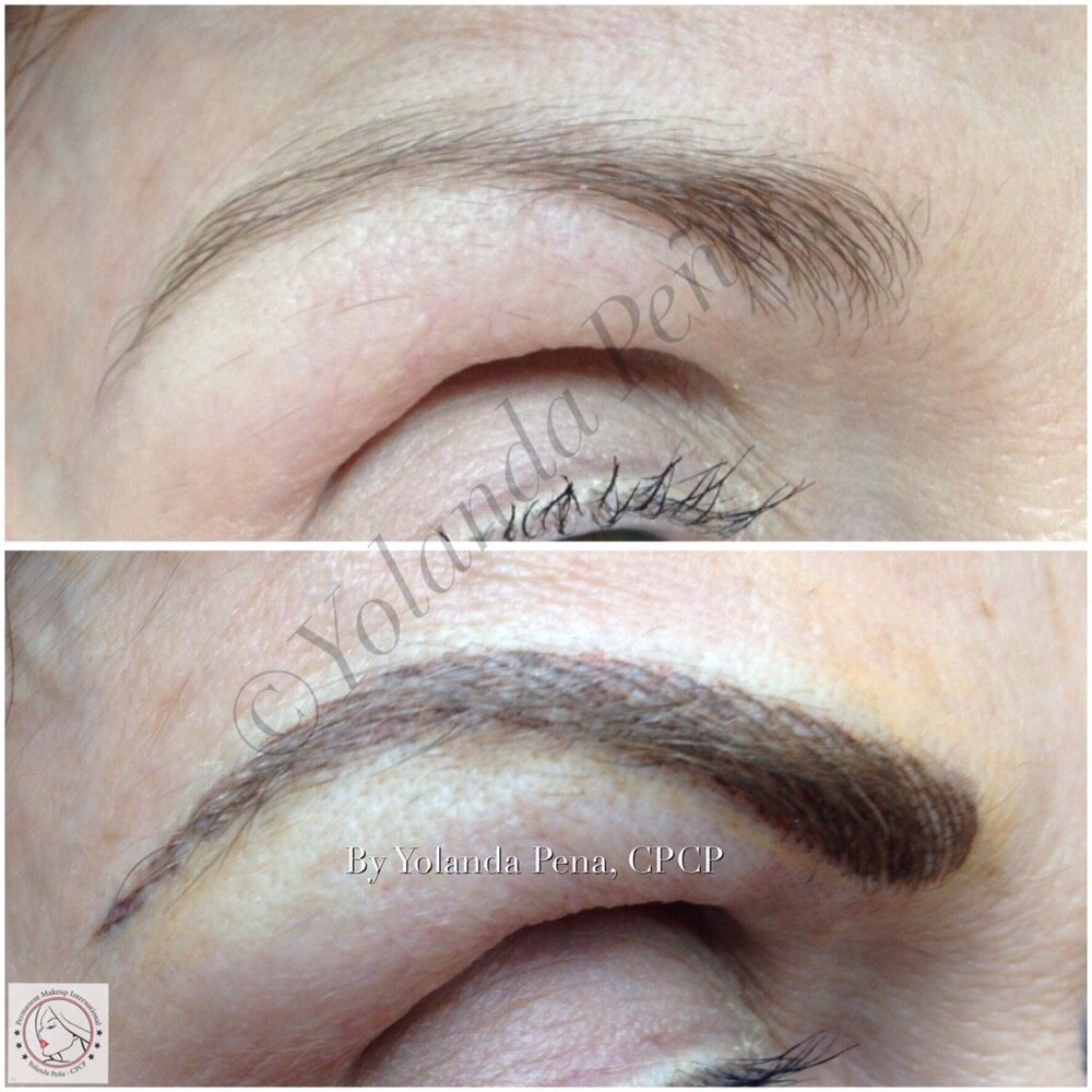 Hair Simulation In Scarce And Downward Shaped Eyebrows Pigment