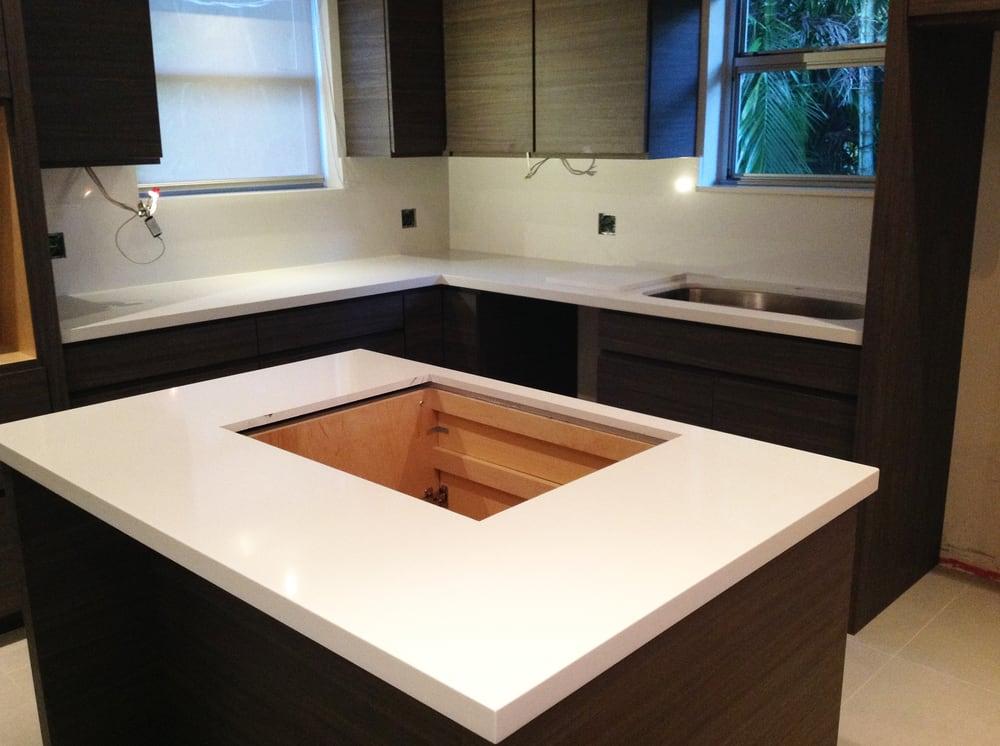Quartz Countertops Near Me : ... , FL, United States. Glaciar White Compac Quartz Kitchen Countertops
