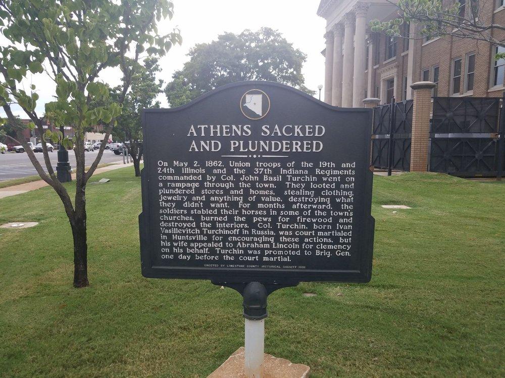 Athens Sacked and Plundered Plaque: 215 W Washington St, Athens, AL