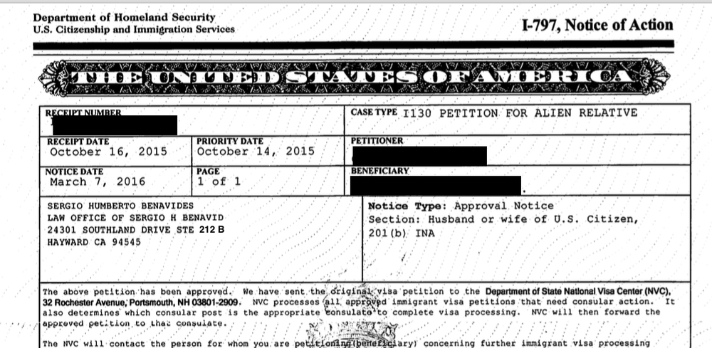 An I-130 Approval Notice, a first step in getting a Green Card  Una
