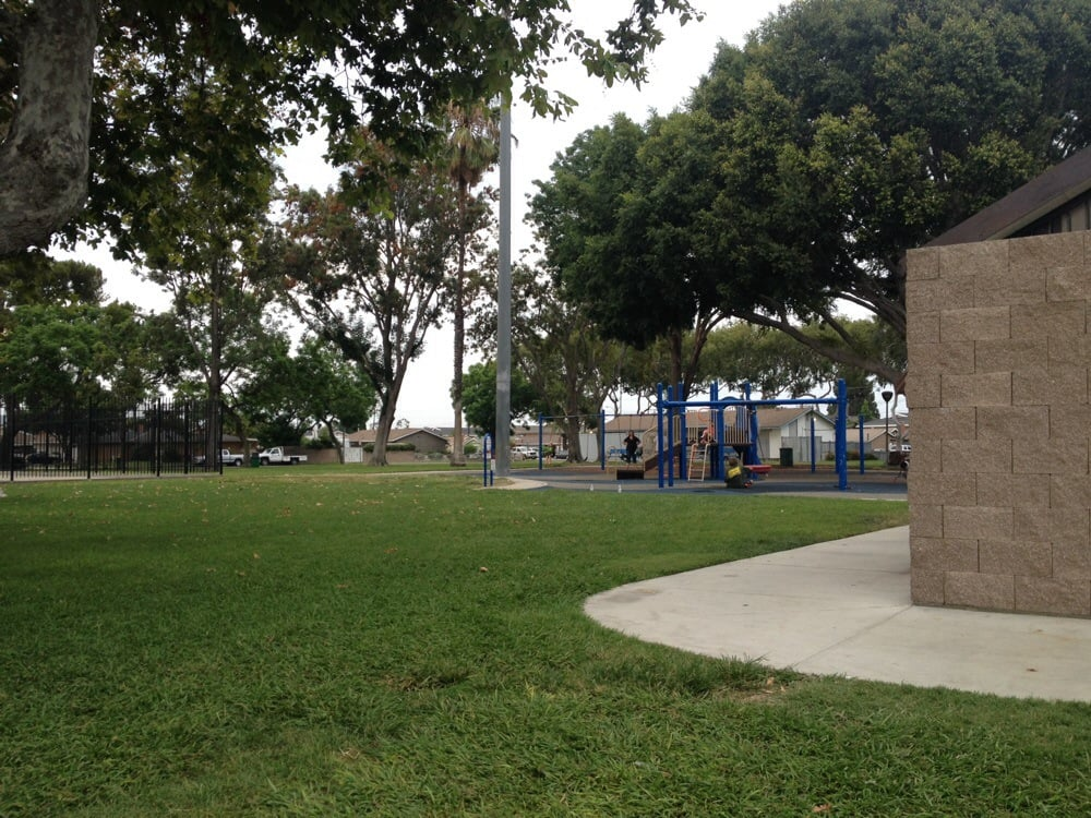 Nice park with clean bathrooms and a small playground for Garden grove pool
