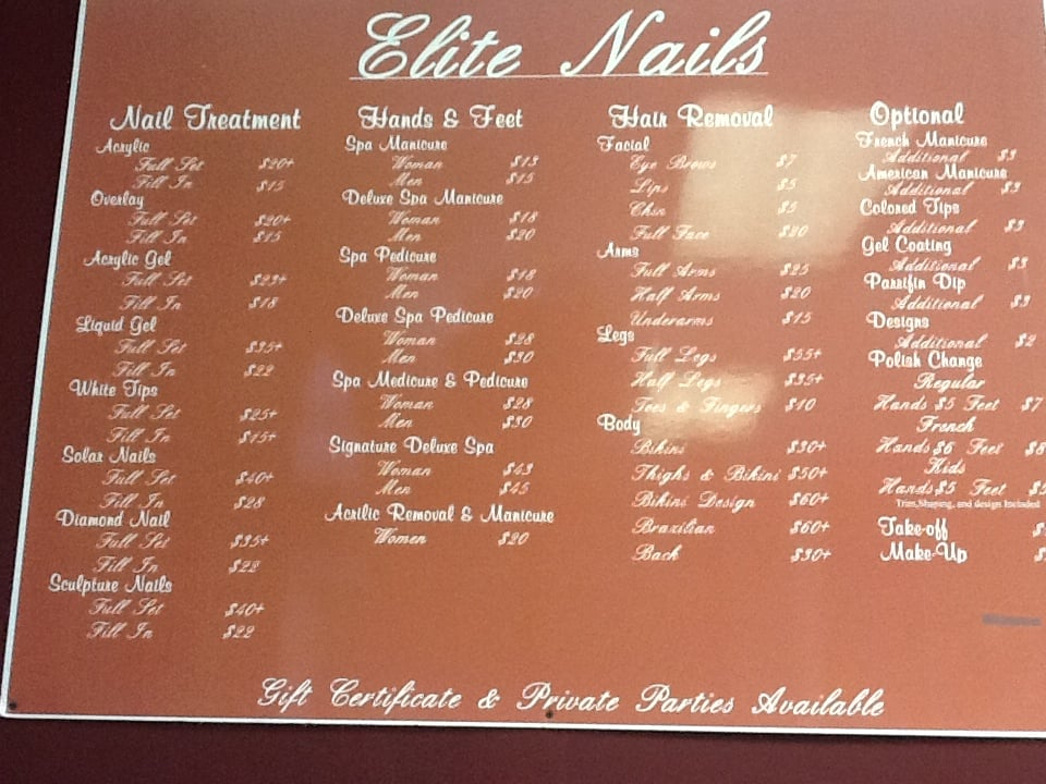 Prices List. Sorry Elite Nails no longer offer service on bikini wax ...